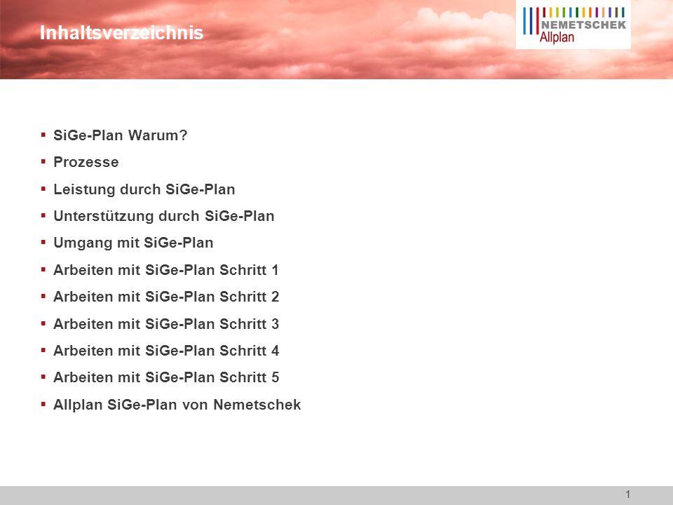 11 Allplan SiGe-Plan Arbeiten Schritt 5 Erstellen von Unterlagen für die späteren Arbeiten -Einfaches Zusammenstellen mittels doppel Klick möglich.