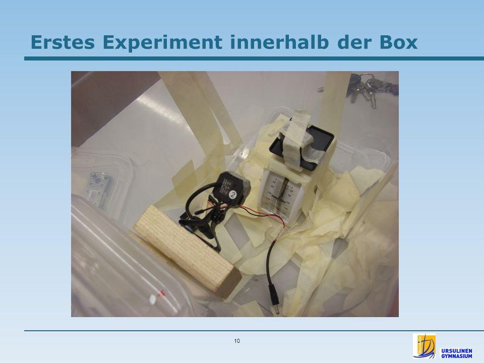 10 Erstes Experiment innerhalb der Box