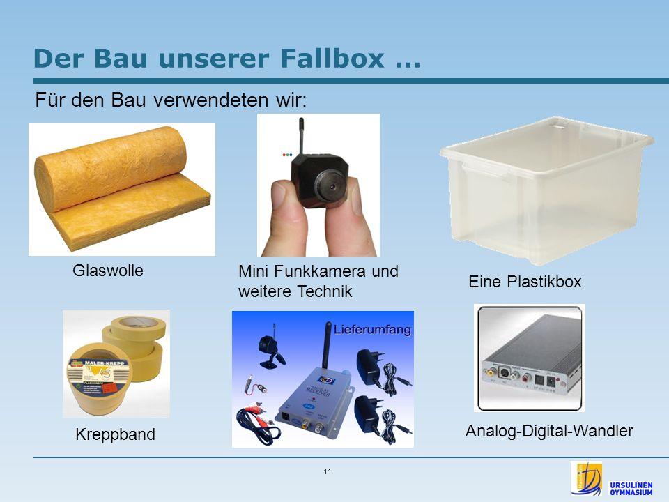 11 Der Bau unserer Fallbox … Für den Bau verwendeten wir: Glaswolle Mini Funkkamera und weitere Technik Eine Plastikbox Kreppband Analog-Digital-Wandl