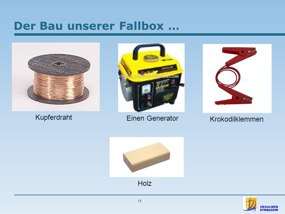 13 Kupferdraht Einen Generator Krokodilklemmen Holz Der Bau unserer Fallbox …