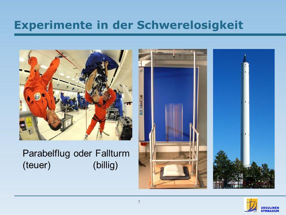7 Experimente in der Schwerelosigkeit Parabelflug oder Fallturm (teuer) (billig)