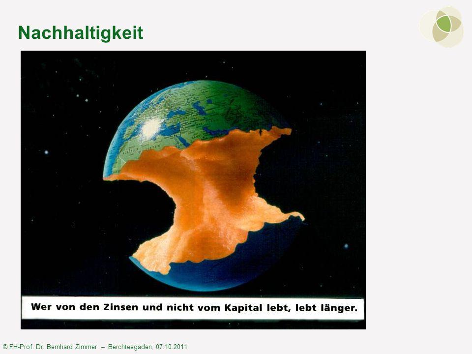 © FH-Prof. Dr. Bernhard Zimmer – Berchtesgaden, 07.10.2011 Nachhaltigkeit