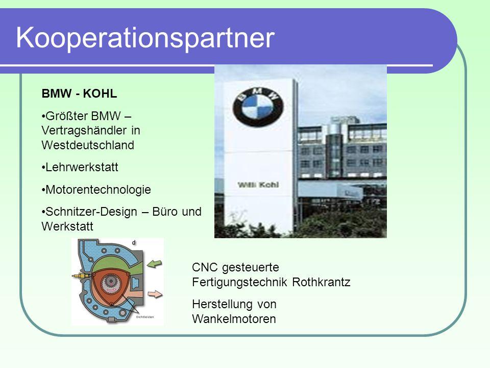 Kooperationspartner BMW - KOHL Größter BMW – Vertragshändler in Westdeutschland Lehrwerkstatt Motorentechnologie Schnitzer-Design – Büro und Werkstatt