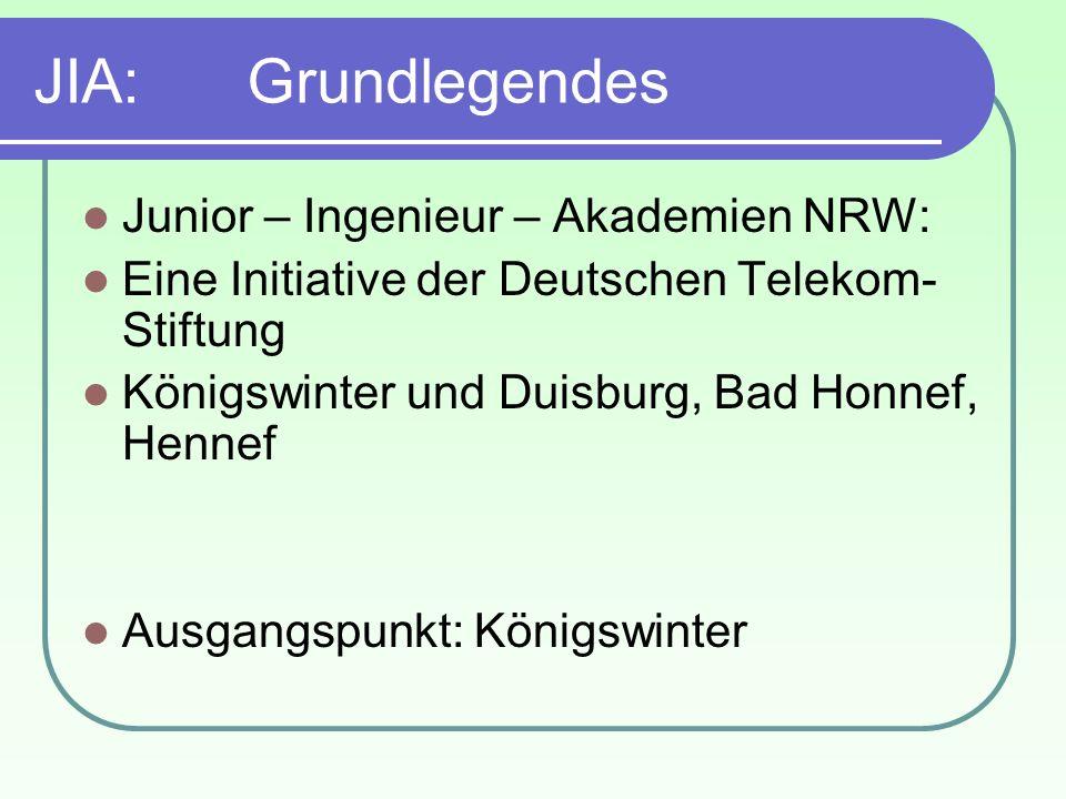 JIA: Grundlegendes Junior – Ingenieur – Akademien NRW: Eine Initiative der Deutschen Telekom- Stiftung Königswinter und Duisburg, Bad Honnef, Hennef A