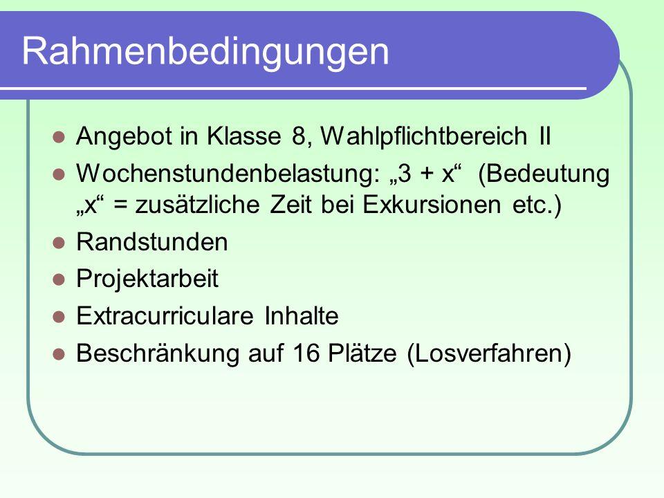 Rahmenbedingungen Angebot in Klasse 8, Wahlpflichtbereich II Wochenstundenbelastung: 3 + x (Bedeutung x = zusätzliche Zeit bei Exkursionen etc.) Rands