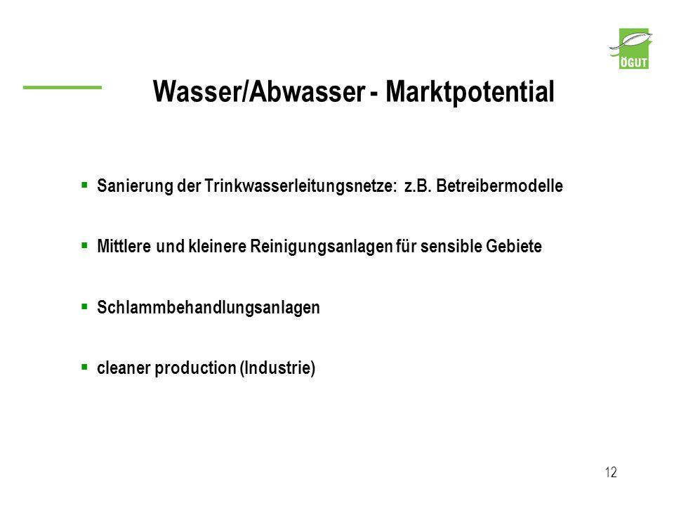 Wasser/Abwasser - Marktpotential 12 Sanierung der Trinkwasserleitungsnetze: z.B. Betreibermodelle Mittlere und kleinere Reinigungsanlagen für sensible