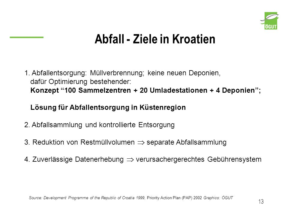 Abfall - Ziele in Kroatien 13 1. Abfallentsorgung: Müllverbrennung; keine neuen Deponien, dafür Optimierung bestehender: Konzept 100 Sammelzentren + 2