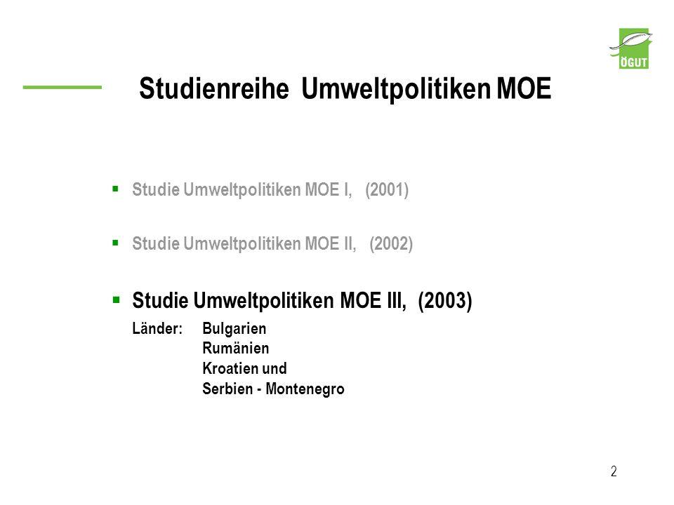Studienreihe Umweltpolitiken MOE 2 Studie Umweltpolitiken MOE I, (2001) Studie Umweltpolitiken MOE II, (2002) Studie Umweltpolitiken MOE III, (2003) L