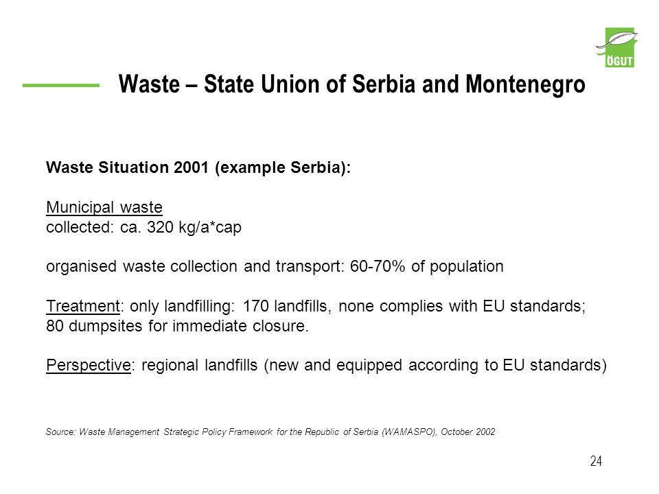 Waste – State Union of Serbia and Montenegro 24 Source: Waste Management Strategic Policy Framework for the Republic of Serbia (WAMASPO), October 2002
