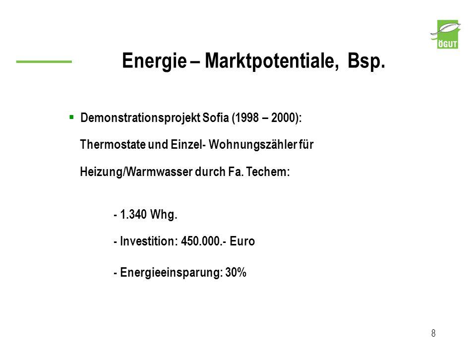 Energie – Marktpotentiale, Bsp. 8 Demonstrationsprojekt Sofia (1998 – 2000): Thermostate und Einzel- Wohnungszähler für Heizung/Warmwasser durch Fa. T