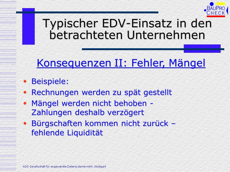 Typischer EDV-Einsatz in den betrachteten Unternehmen Beispiele: Beispiele: Rechnungen werden zu spät gestellt Rechnungen werden zu spät gestellt Mäng