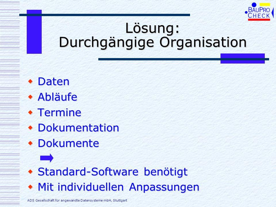 Lösung: Durchgängige Organisation Daten Daten Abläufe Abläufe Termine Termine Dokumentation Dokumentation Dokumente Dokumente Standard-Software benöti