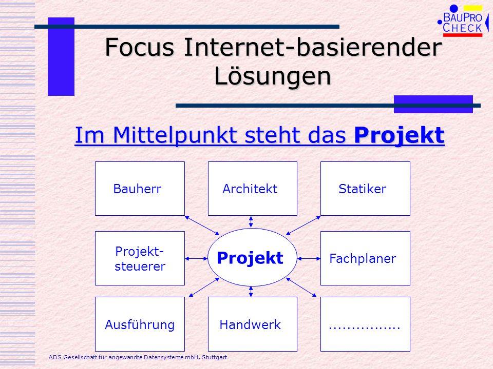 Focus BauProCheck Im Mittelpunkt das Unternehmen Planer / Unternehmen Projekt 1 Projekt 3 Projekt 4 Projekt 2 ADS Gesellschaft für angewandte Datensysteme mbH, Stuttgart