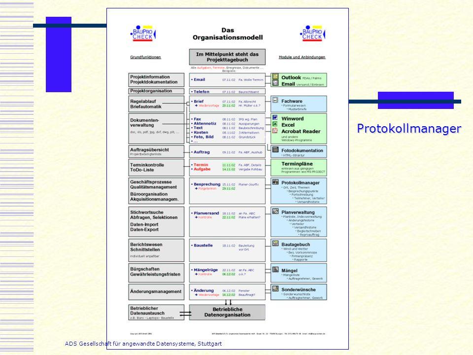 ADS Gesellschaft für angewandte Datensysteme, Stuttgart Protokollmanager