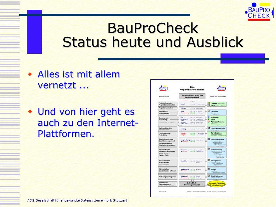 BauProCheck Status heute und Ausblick Alles ist mit allem vernetzt... Alles ist mit allem vernetzt... Und von hier geht es auch zu den Internet- Platt