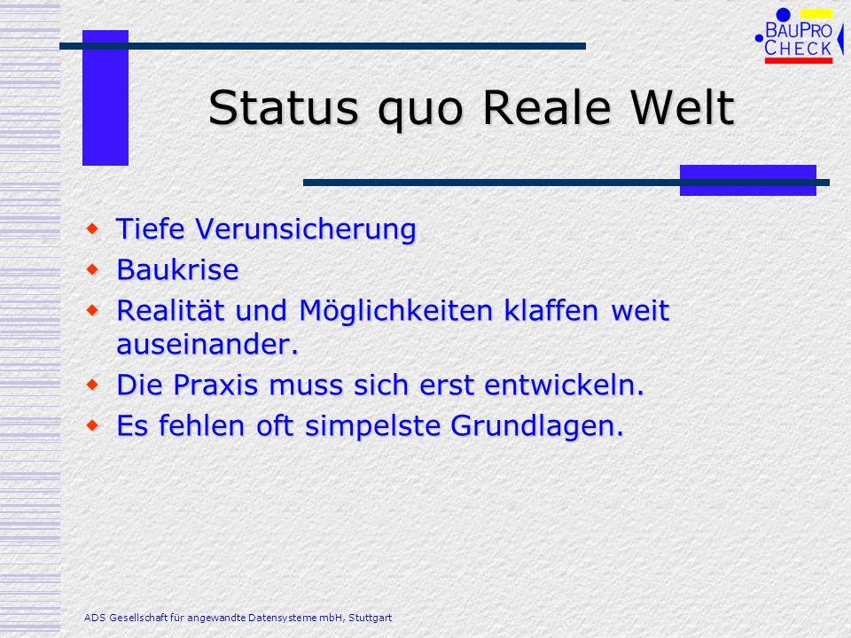 Status quo Reale Welt Tiefe Verunsicherung Tiefe Verunsicherung Baukrise Baukrise Realität und Möglichkeiten klaffen weit auseinander. Realität und Mö