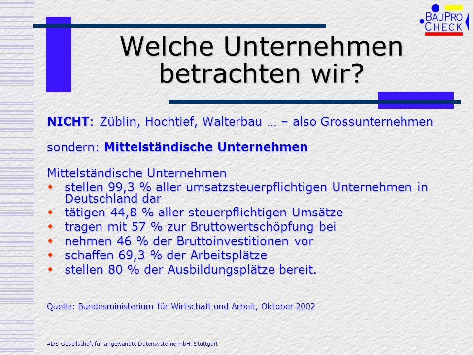Welche Unternehmen betrachten wir? NICHT: Züblin, Hochtief, Walterbau … – also Grossunternehmen sondern: Mittelständische Unternehmen Mittelständische