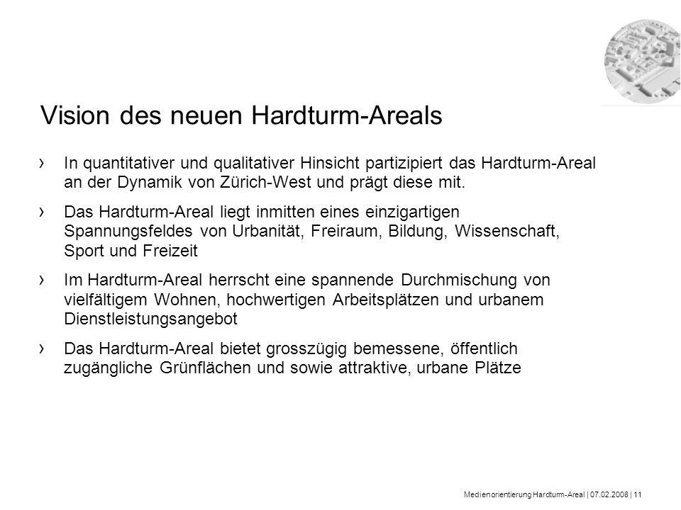 Medienorientierung Hardturm-Areal | 07.02.2008 | 11 Vision des neuen Hardturm-Areals In quantitativer und qualitativer Hinsicht partizipiert das Hardt