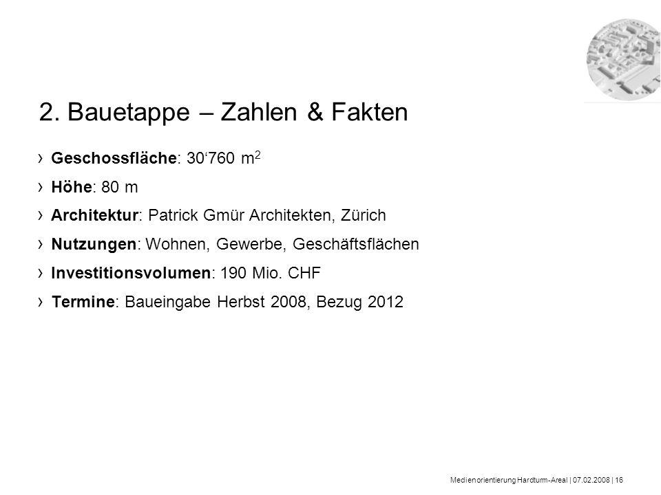 Medienorientierung Hardturm-Areal | 07.02.2008 | 16 Geschossfläche: 30760 m 2 Höhe: 80 m Architektur: Patrick Gmür Architekten, Zürich Nutzungen: Wohn