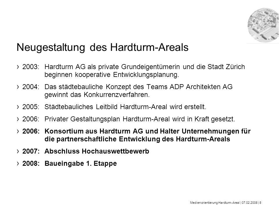 Medienorientierung Hardturm-Areal | 07.02.2008 | 8 2003: Hardturm AG als private Grundeigentümerin und die Stadt Zürich beginnen kooperative Entwicklu