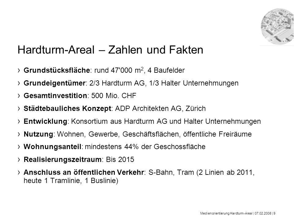 Medienorientierung Hardturm-Areal | 07.02.2008 | 9 Grundstücksfläche: rund 47'000 m 2, 4 Baufelder Grundeigentümer: 2/3 Hardturm AG, 1/3 Halter Untern