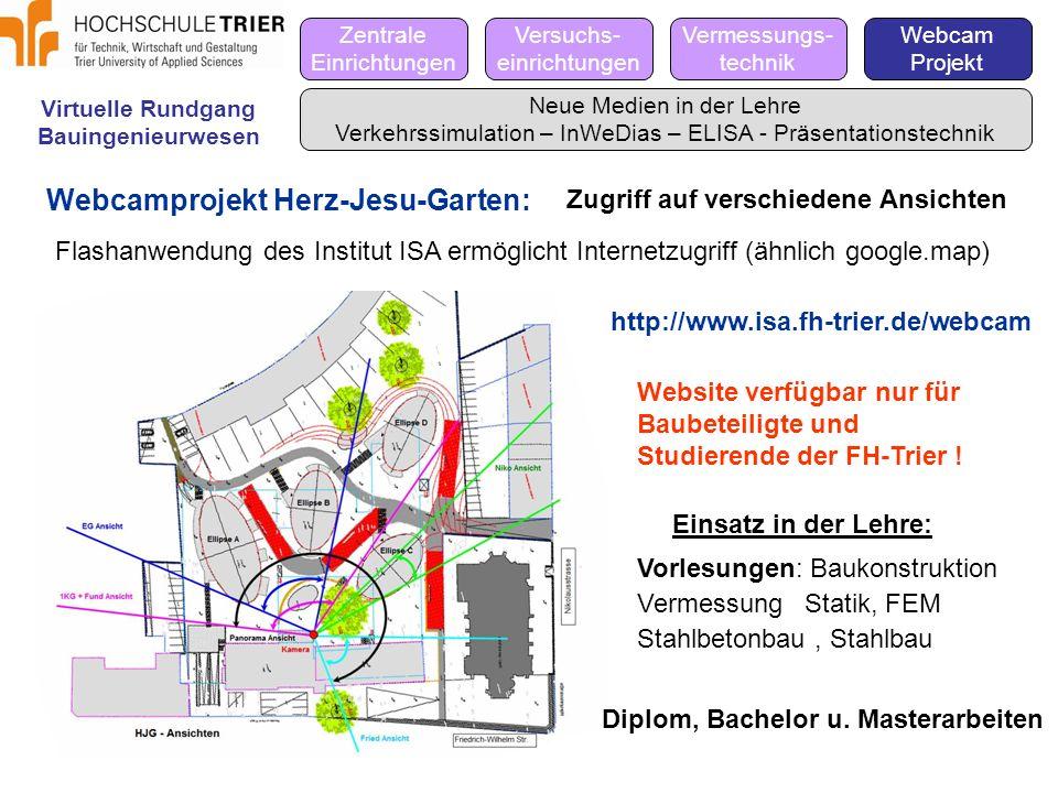 Virtuelle Rundgang Bauingenieurwesen Zentrale Einrichtungen Versuchs- einrichtungen Vermessungs- technik Webcam Projekt Neue Medien in der Lehre Verke