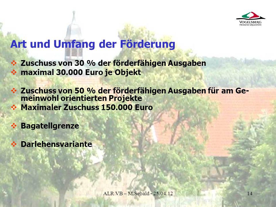 14 Art und Umfang der Förderung Zuschuss von 30 % der förderfähigen Ausgaben maximal 30.000 Euro je Objekt Zuschuss von 50 % der förderfähigen Ausgabe