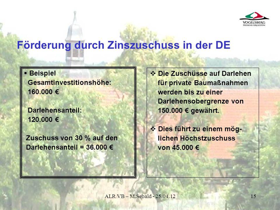 15 Förderung durch Zinszuschuss in der DE Die Zuschüsse auf Darlehen für private Baumaßnahmen werden bis zu einer Darlehensobergrenze von 150.000 gewä