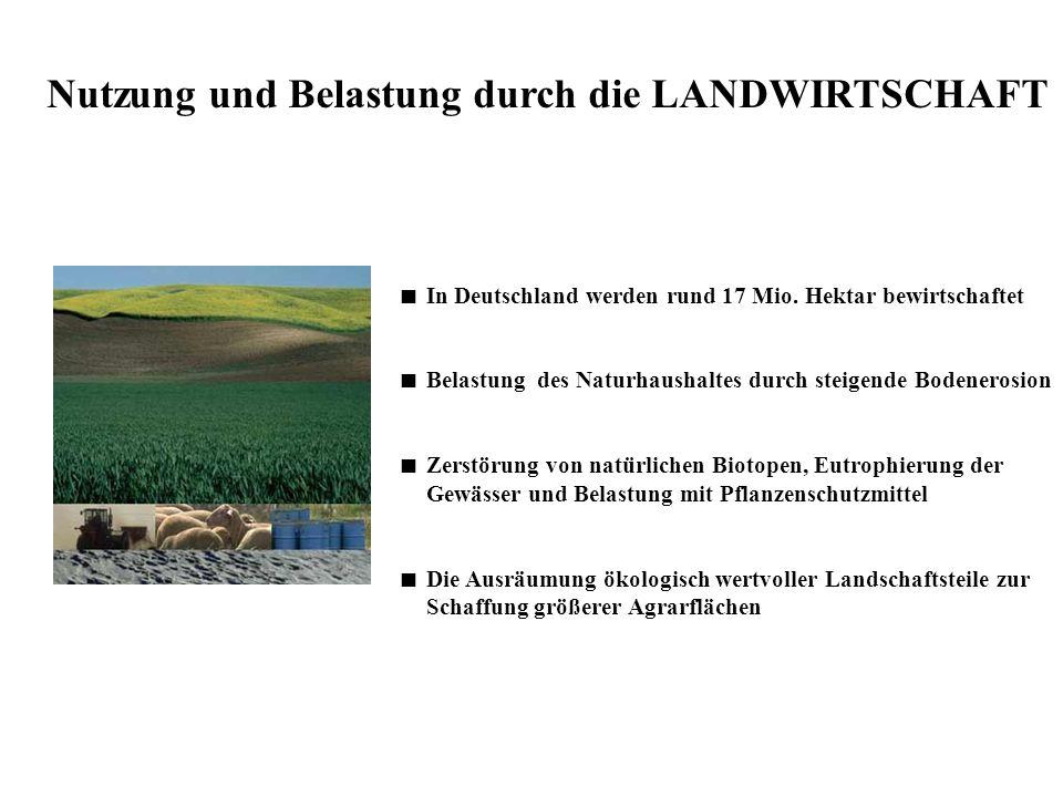 Nutzung und Belastung durch die LANDWIRTSCHAFT In Deutschland werden rund 17 Mio. Hektar bewirtschaftet Belastung des Naturhaushaltes durch steigende
