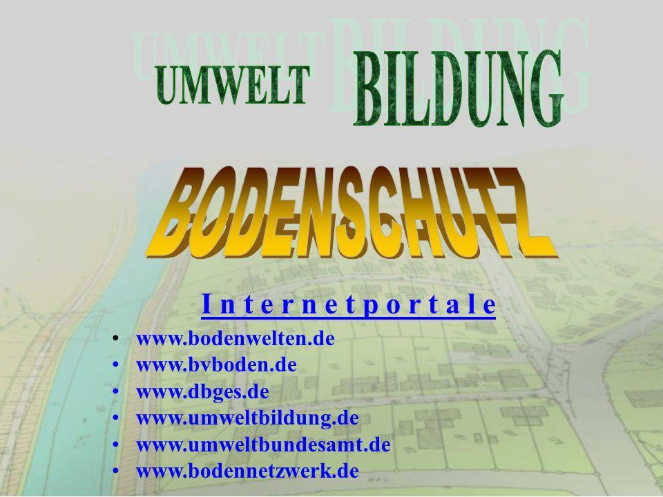 I n t e r n e t p o r t a l e www.bodenwelten.de www.bvboden.de www.dbges.de www.umweltbildung.de www.umweltbundesamt.de www.bodennetzwerk.de