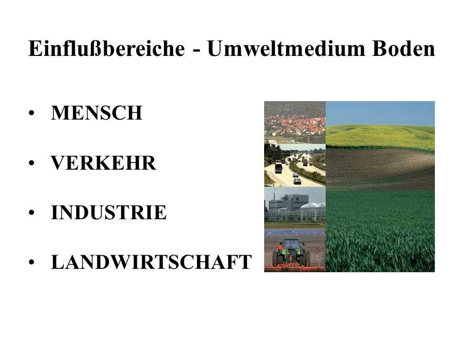 Einflußbereiche - Umweltmedium Boden MENSCH VERKEHR INDUSTRIE LANDWIRTSCHAFT