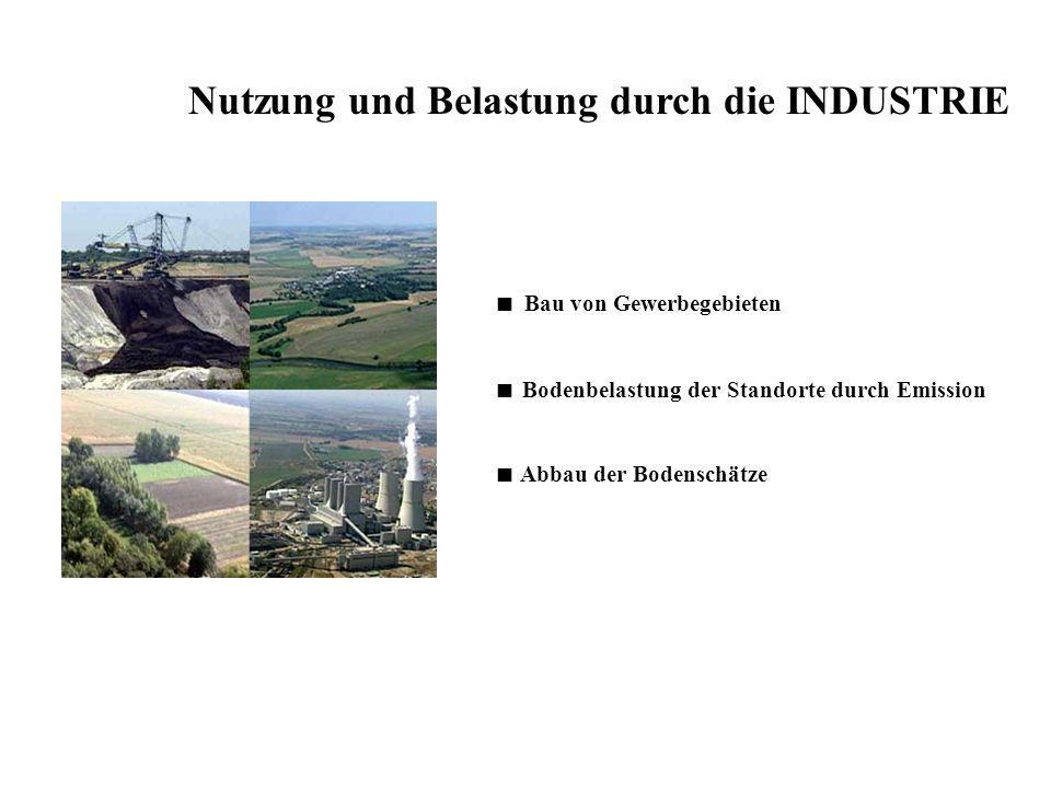 Nutzung und Belastung durch die INDUSTRIE Bau von Gewerbegebieten Bodenbelastung der Standorte durch Emission Abbau der Bodenschätze