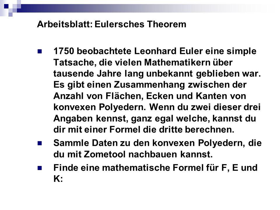 Arbeitsblatt: Eulersches Theorem 1750 beobachtete Leonhard Euler eine simple Tatsache, die vielen Mathematikern über tausende Jahre lang unbekannt geb
