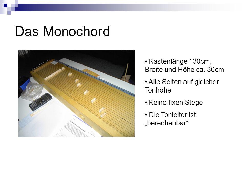 Das Monochord Kastenlänge 130cm, Breite und Höhe ca. 30cm Alle Seiten auf gleicher Tonhöhe Keine fixen Stege Die Tonleiter ist berechenbar