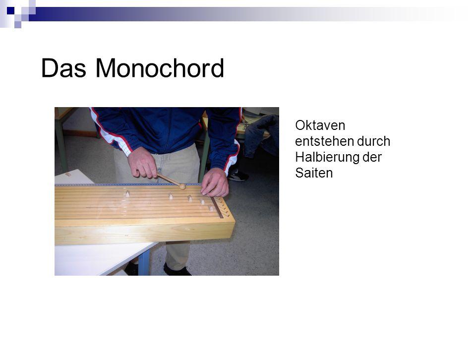 Das Monochord Oktaven entstehen durch Halbierung der Saiten