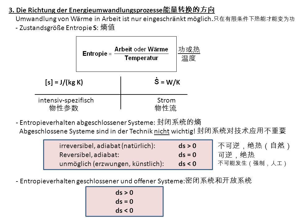 3. Die Richtung der Energieumwandlungsprozesse Umwandlung von Wärme in Arbeit ist nur eingeschränkt möglich. - Zustandsgröße Entropie S: [s] = J/(kg K