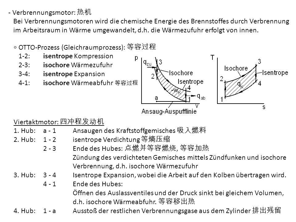 - Verbrennungsmotor: Bei Verbrennungsmotoren wird die chemische Energie des Brennstoffes durch Verbrennung im Arbeitsraum in Wärme umgewandelt, d.h. d