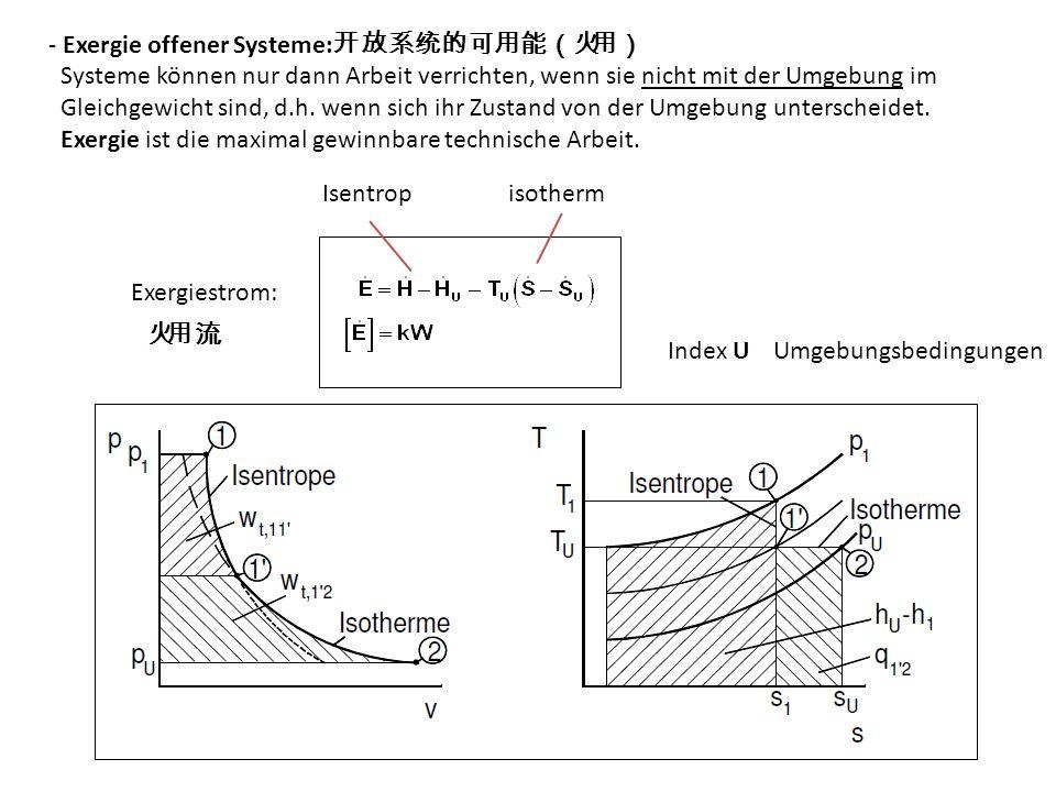 - Exergie offener Systeme: Systeme können nur dann Arbeit verrichten, wenn sie nicht mit der Umgebung im Gleichgewicht sind, d.h.
