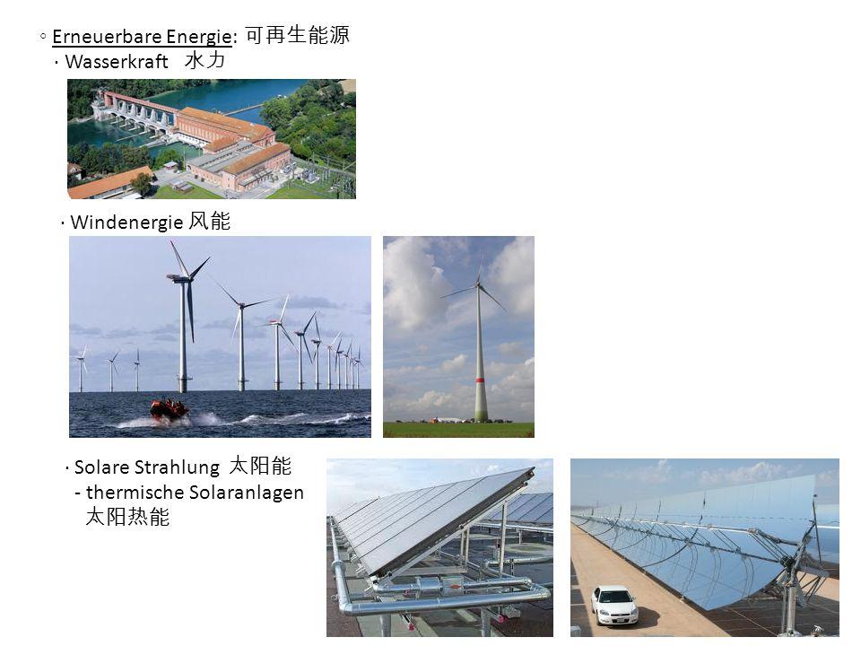Erneuerbare Energie: Wasserkraft Windenergie Solare Strahlung - thermische Solaranlagen