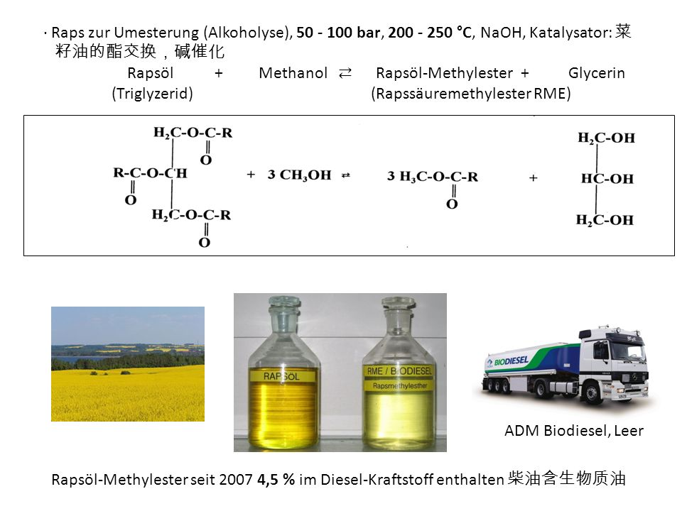 Raps zur Umesterung (Alkoholyse), 50 - 100 bar, 200 - 250 °C, NaOH, Katalysator: Rapsöl + Methanol Rapsöl-Methylester+ Glycerin (Triglyzerid) (Rapssäuremethylester RME) ADM Biodiesel, Leer Rapsöl-Methylester seit 2007 4,5 % im Diesel-Kraftstoff enthalten