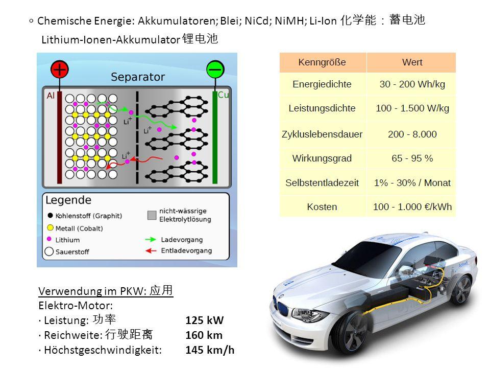 Chemische Energie: Akkumulatoren; Blei; NiCd; NiMH; Li-Ion Verwendung im PKW: Elektro-Motor: Leistung: 125 kW Reichweite: 160 km Höchstgeschwindigkeit