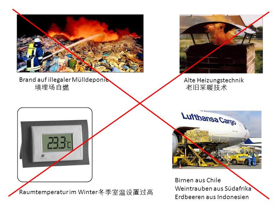 Brand auf illegaler Mülldeponie Alte Heizungstechnik Raumtemperatur im Winter Birnen aus Chile Weintrauben aus Südafrika Erdbeeren aus Indonesien
