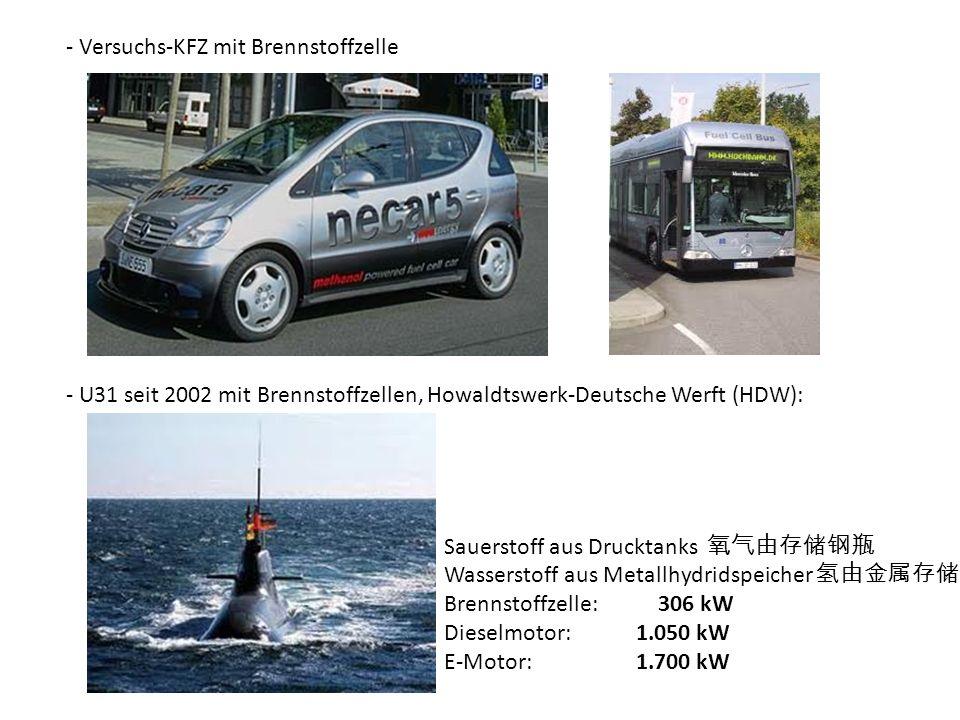 - Versuchs-KFZ mit Brennstoffzelle - U31 seit 2002 mit Brennstoffzellen, Howaldtswerk-Deutsche Werft (HDW): Sauerstoff aus Drucktanks Wasserstoff aus Metallhydridspeicher Brennstoffzelle: 306 kW Dieselmotor:1.050 kW E-Motor:1.700 kW