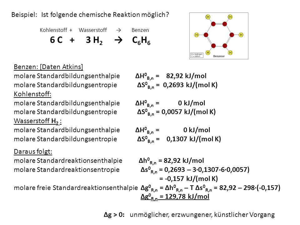 Beispiel: Ist folgende chemische Reaktion möglich? Kohlenstoff + Wasserstoff Benzen 6 C+ 3 H 2 C 6 H 6 Benzen: [Daten Atkins] molare Standardbildungse