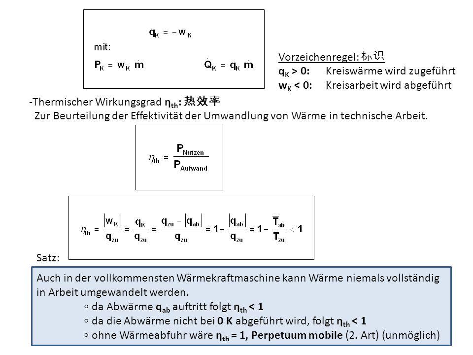 Vorzeichenregel: q K > 0: Kreiswärme wird zugeführt w K < 0: Kreisarbeit wird abgeführt -Thermischer Wirkungsgrad η th : Zur Beurteilung der Effektivi