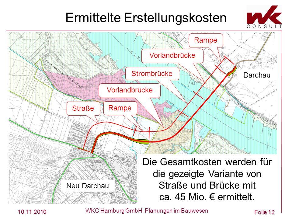 10.11.2010 WKC Hamburg GmbH, Planungen im Bauwesen Folie 12 Ermittelte Erstellungskosten Straße Rampe Vorlandbrücke Rampe Strombrücke Neu Darchau Darc