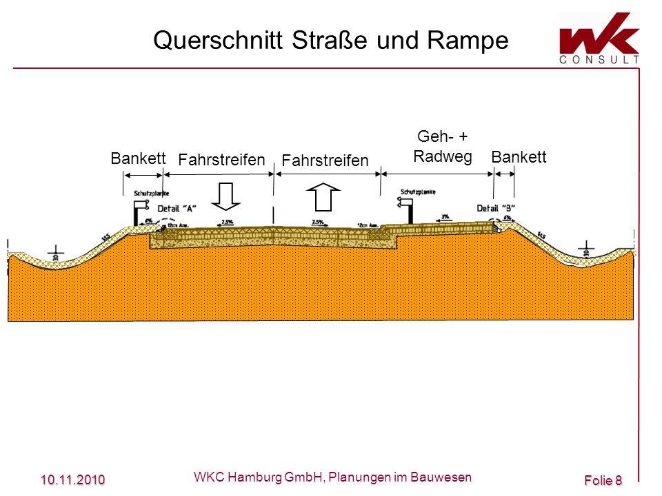 10.11.2010 WKC Hamburg GmbH, Planungen im Bauwesen Folie 9 Querschnitt auf der Brücke Fahrstreifen Geh- + Radweg