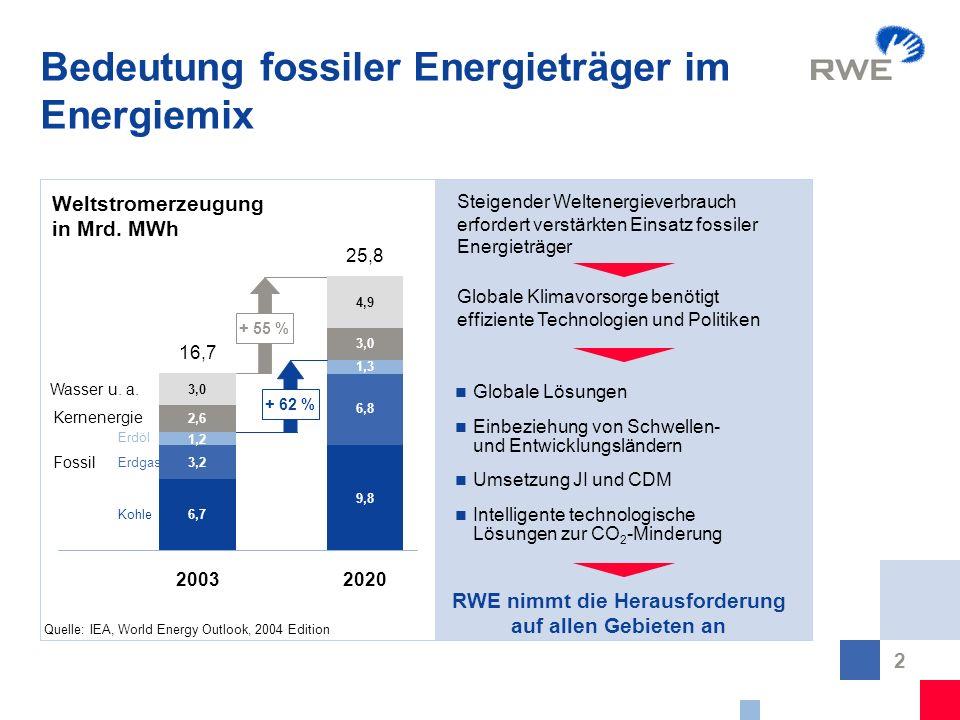 2 Bedeutung fossiler Energieträger im Energiemix Globale Lösungen Einbeziehung von Schwellen- und Entwicklungsländern Umsetzung JI und CDM Intelligent
