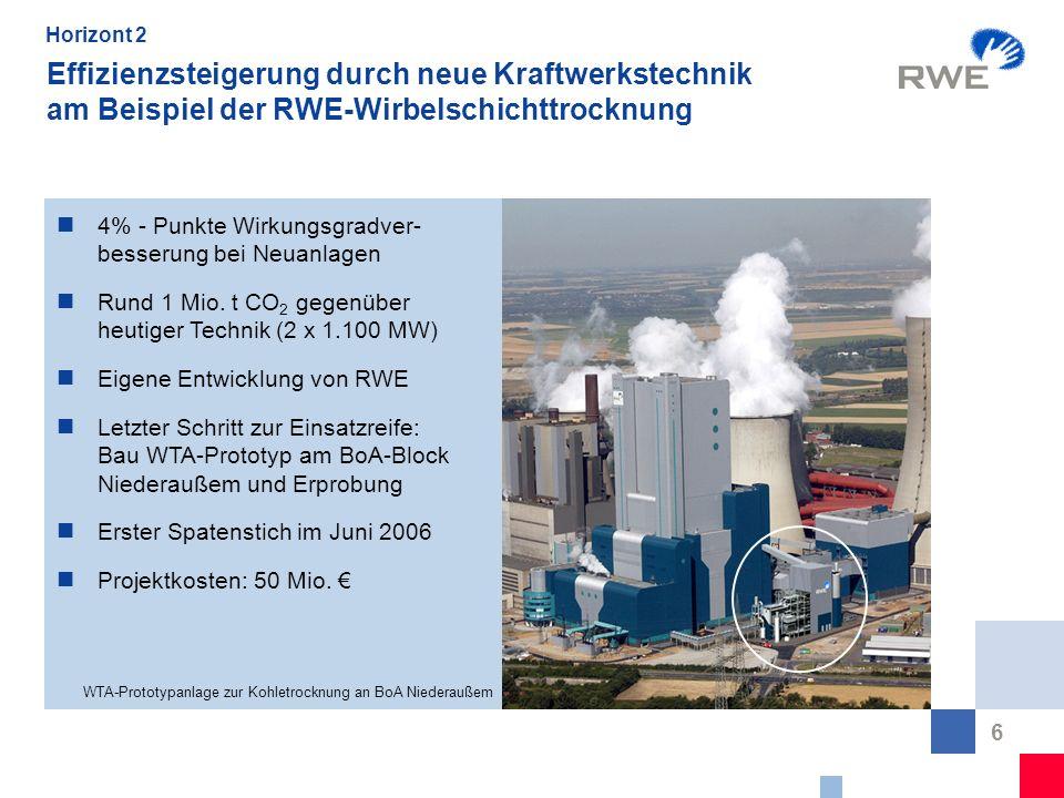 6 Effizienzsteigerung durch neue Kraftwerkstechnik am Beispiel der RWE-Wirbelschichttrocknung WTA-Prototypanlage zur Kohletrocknung an BoA Niederaußem