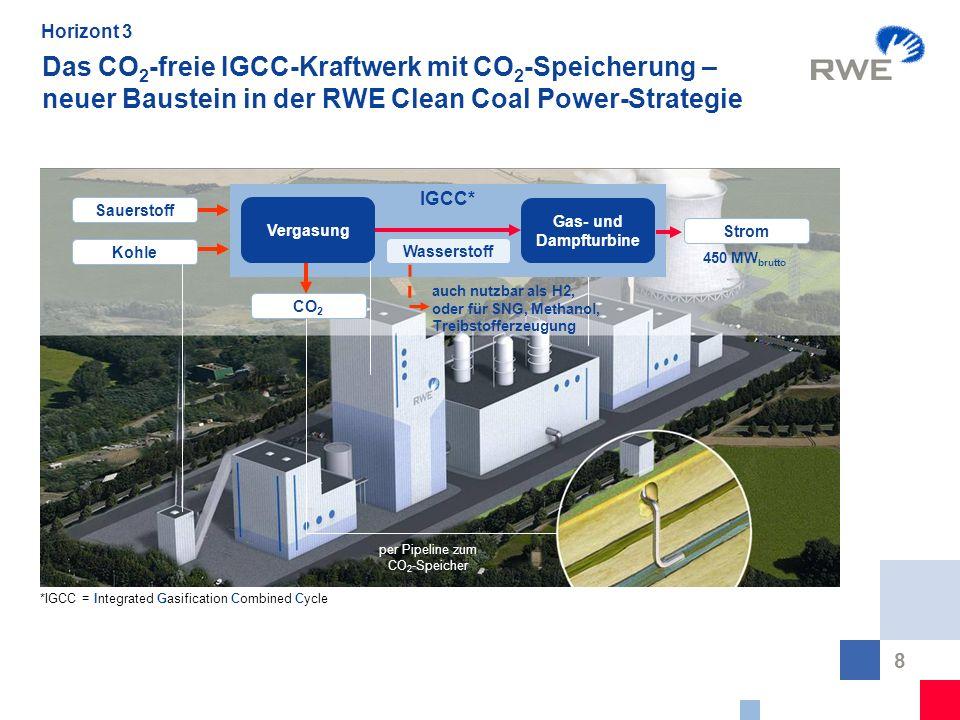 8 Das CO 2 -freie IGCC-Kraftwerk mit CO 2 -Speicherung – neuer Baustein in der RWE Clean Coal Power-Strategie per Pipeline zum CO 2 -Speicher *IGCC =